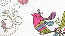 Flores y pájaro