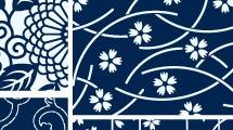 Patrones azules florales