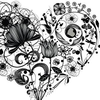 Vector Gratis De Corazón En Blanco Y Negro
