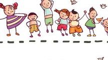 Set con niños felices