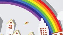 Ciudad con arco iris
