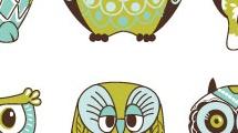 Set con caricaturas de búhos