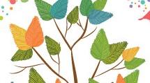 Árbol con corona de pájaros