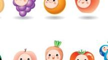 Frutas y verduras con caritas