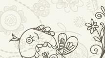 Pájaro con flores