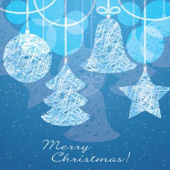 tarjeta azul para navidad previa del vector