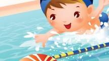 Chicos nadando