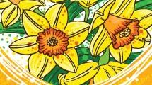 Corazón con flores amarillas