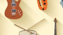 Set con instrumentos de música