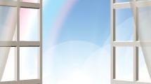 Ventana y arco iris