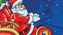 Papá Noel conduciendo su trineo