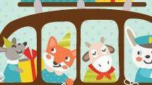 Tarjeta de cumpleaños con animales