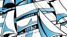 Fragata azul navegando