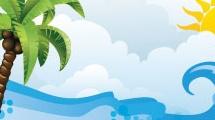 Playa y palmera