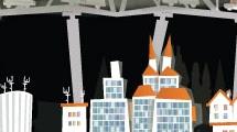 Puente y ciudad en la noche