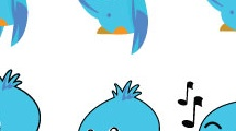 Set con pájaros azules