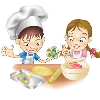 Vector Gratis De Niños Cocinando Galletas