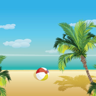 Vector Gratis De Playa Y Palmeras