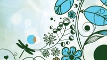 Flores y libélulas