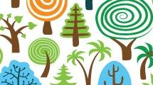 Fondo con variedad de árboles