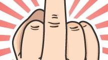 Mano muestra el dedo medio
