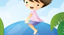 Niño sobre ballena azul