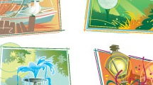 Set con seis ilustraciones