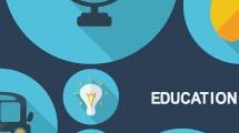 Iconos azules sobre educación