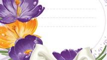 Tarjeta con flores y moño