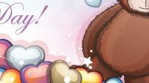 Tarjeta con oso y corazones