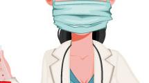 Doctora con barbijo y tubo de ensayo