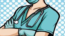 Enfermera con guantes y barbijo