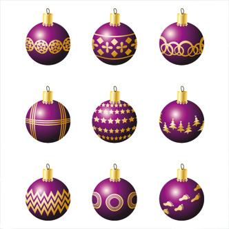 adornos de navidad violetas previa del vector