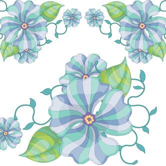 Vector Gratis De Flores Celestes Y Verdes