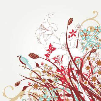 Vector Gratis De Flores Rojas Celestes Y Blancas Con Aves