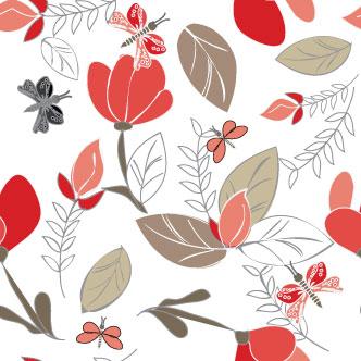 Vector gratis de Fondo Floral con Mariposas