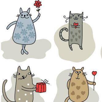 Gatitos enamorados. Previa del vector