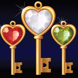 llave de oro, llaves doradas, llaves, doradas, corazones, corazon rojo, corazón blanco, corazón verde