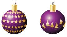 Adornos navideños en violeta
