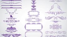 Adornos ornamentales simples en color violeta