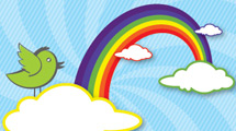 Arco iris con ave verde