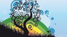 Arcoiris con árbol abstracto