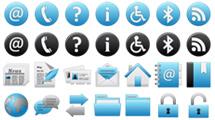 Atractivos iconos web brillantes
