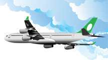 Avión blanco en vuelo con detalles en verde.