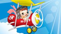 Avión con niño de piloto estilo cartoon