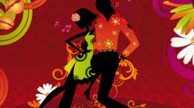 Bailarines de salsa con fondo rojo