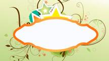 Banner con borde naranja y estrellas