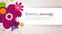 Banner con flor violeta y texto