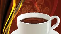 Banner con taza de café blanca y detalles en dorado