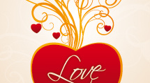 Banner romántico con swirls